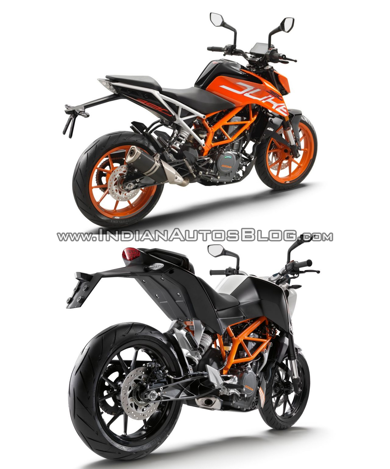 2017 KTM Duke 390 vs. 2013 KTM Duke 390 rear three quarters