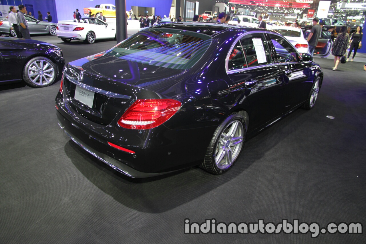 2017 Mercedes E-Class rear three quarters right side at 2016 Thai Motor Expo