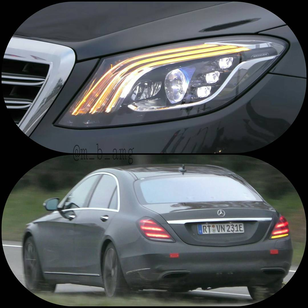 2017 Mercedes S-Class (facelift) black headlamp and rear spy shots