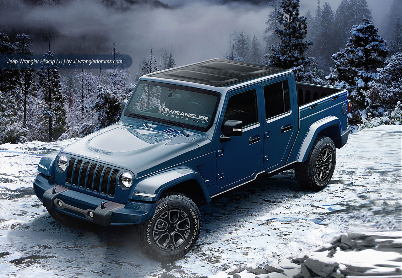 2018 Jeep Wrangler-based pickup blue front three quarters rendering