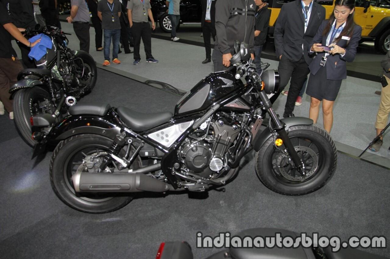 Honda Rebel 500 black side at Thai Motor Expo