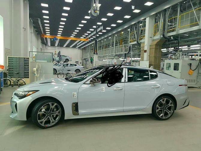 Kia K8 or Kia Stinger side profile shot
