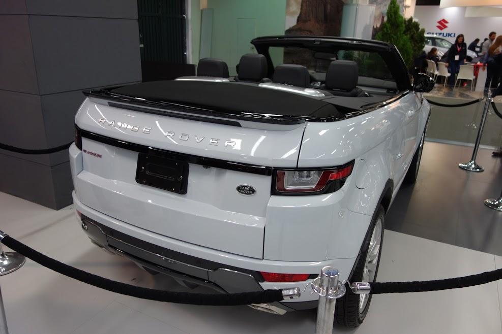 Range Rover Evoque Convertible rear three quarters at 2016 Bogota Auto Show