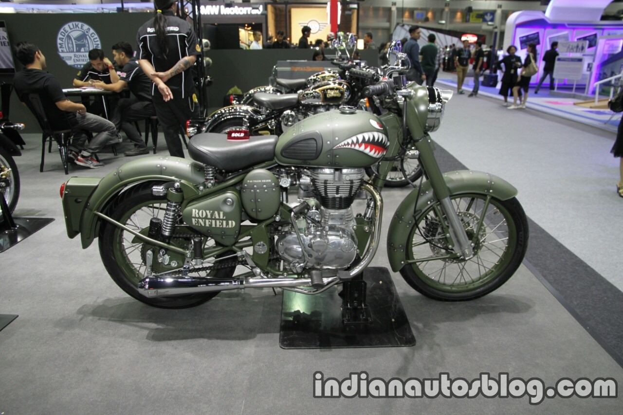 Royal Enfield Classic Battle Green P-40 Tiger Shark side at Thai Motor Expo