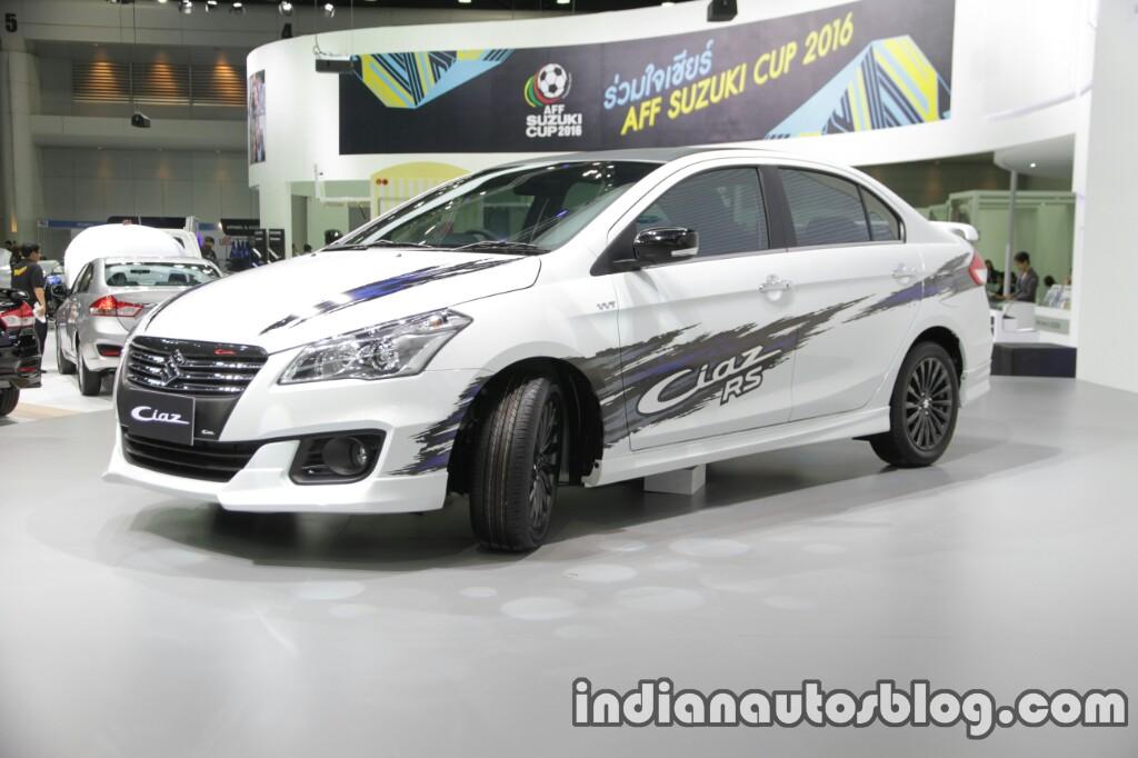 Suzuki Ciaz RS with body graphics front three quarter 2016 Thai Motor Expo