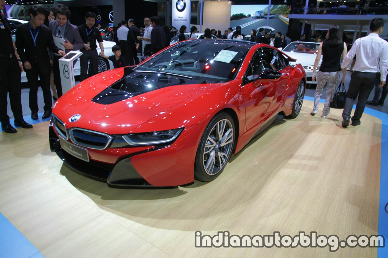 BMW i8 Protonic Red Edition front three quarters at 2016 Thai Motor Expo