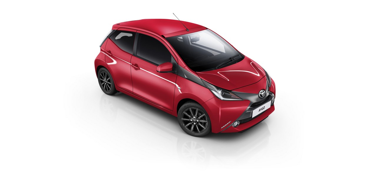 Toyota Aygo x-style front three quarters right side elevated view