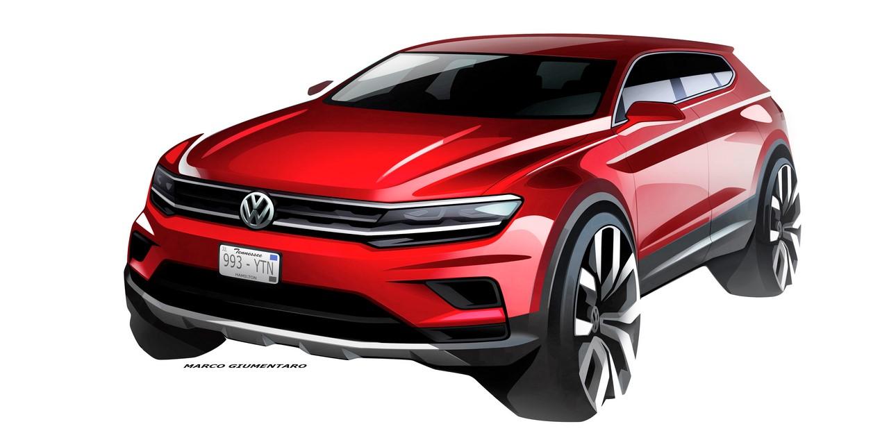 VW Tiguan Allspace front three quarters sketch