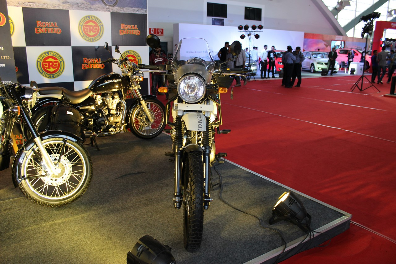 Royal Enfield Himalayan (accessorised) front at Surat International Auto Expo 2017