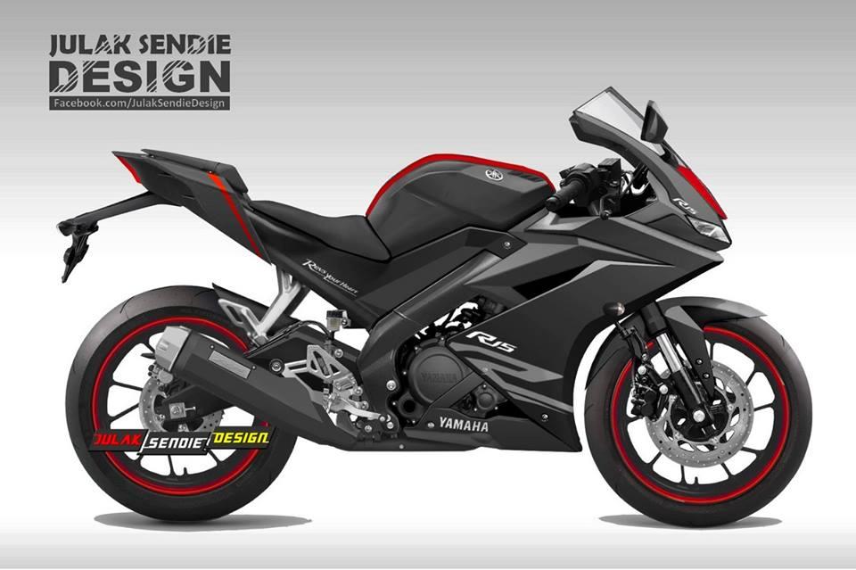Yamaha R15 v3.0 rendering black side