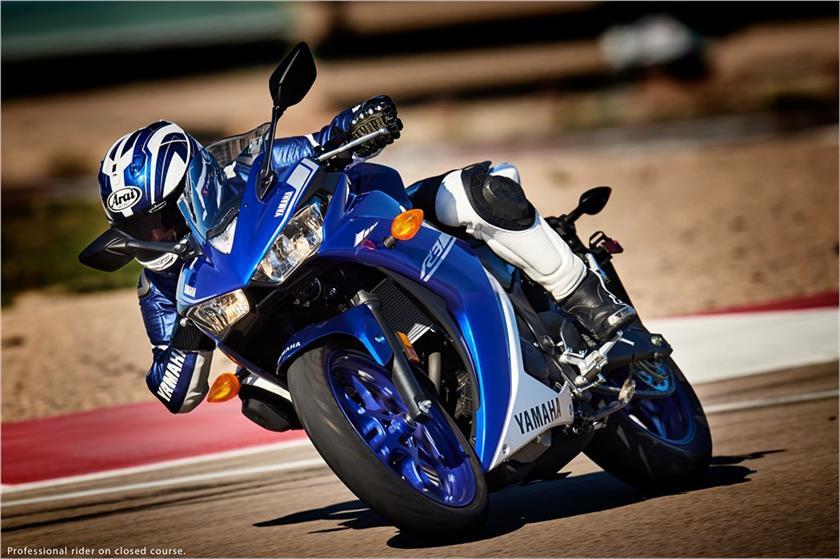 Yamaha R3 blue motion front three quarter