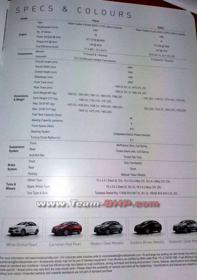2017 Honda City (facelift) tech spec brochure snapped