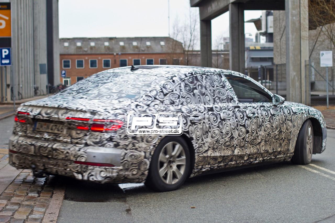 2018 Audi A8 rear three quarters spy shot Copenhagen