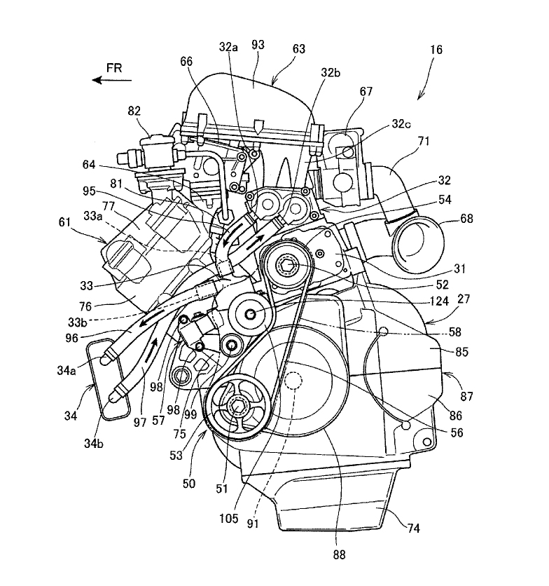 Honda supercharged motorcycle patent sketch engine