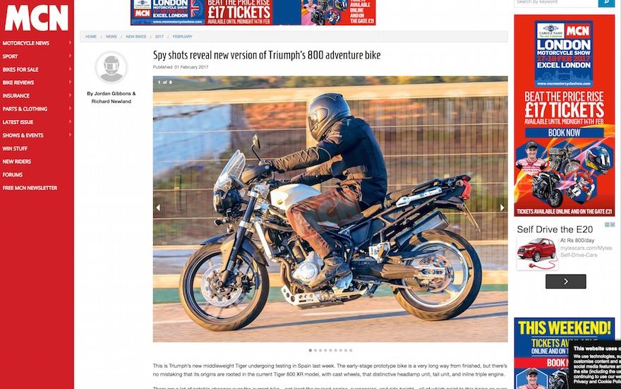 Triumph 800 Adventure motorcycle
