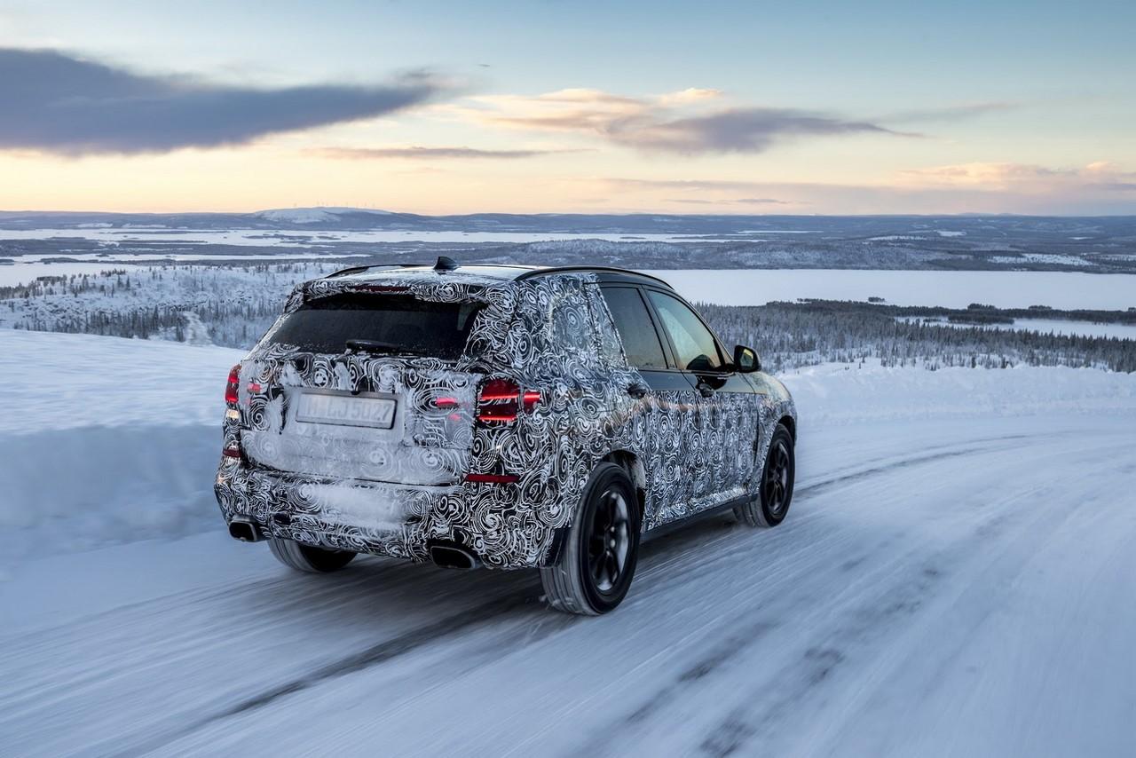 2018 BMW X3 (BMW G01) rear three quarters winter testing