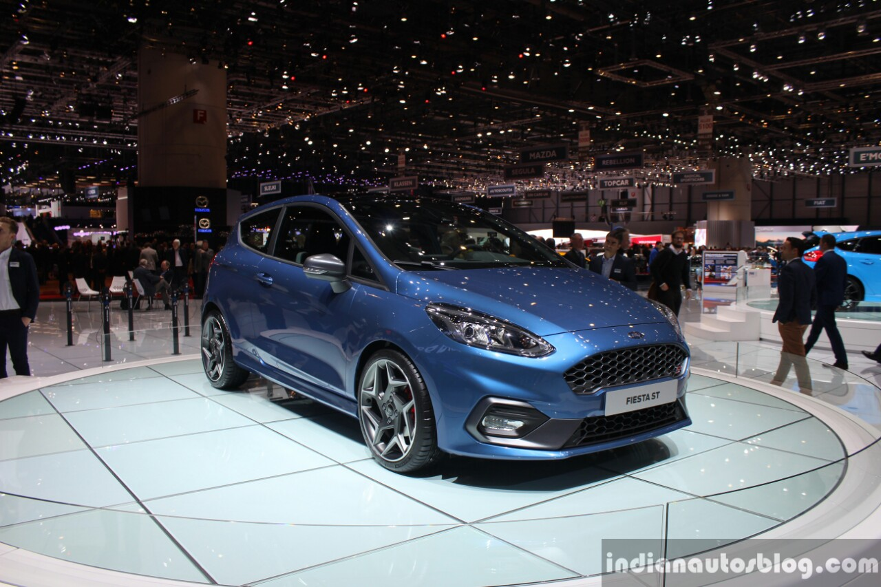 2018 Ford Fiesta ST front three quarter at the 2017 Geneva Motor Show Live