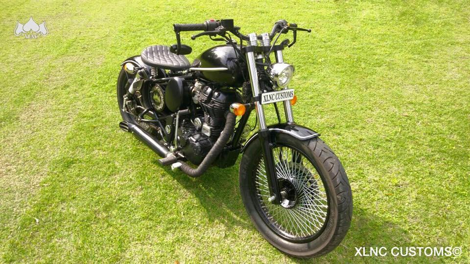 Royal Enfield Classic 350 Multi Spoke Bobber by XLNC Customs front three quarter