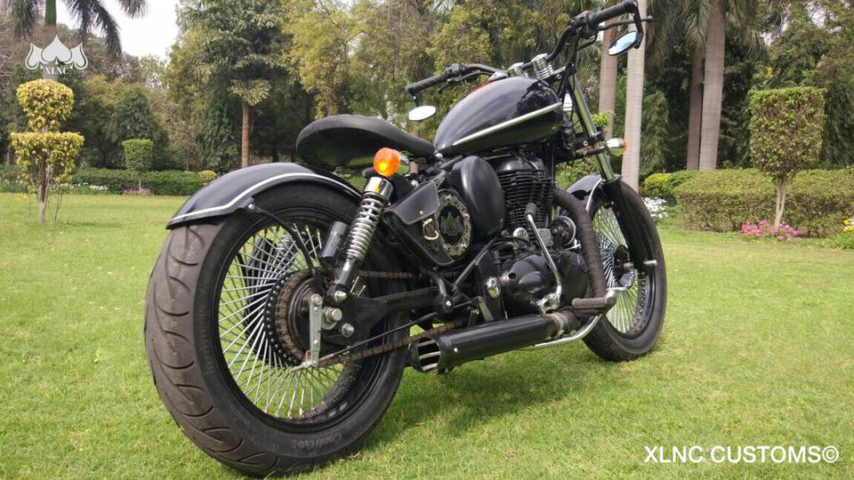 Royal Enfield Classic 350 Multi Spoke Bobber by XLNC Customs rear three quarter right