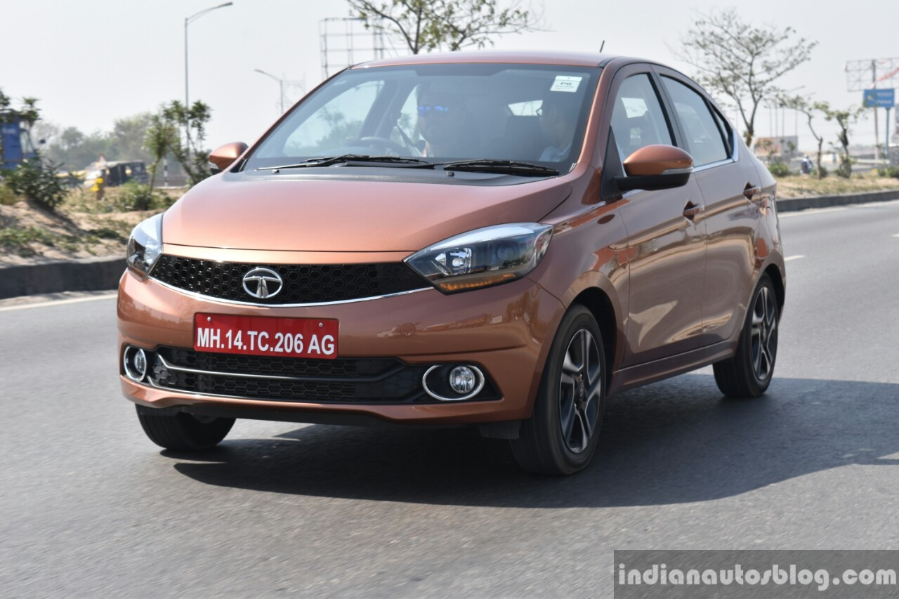 Tata Tigor petrol front quarter dynamic First Drive Review