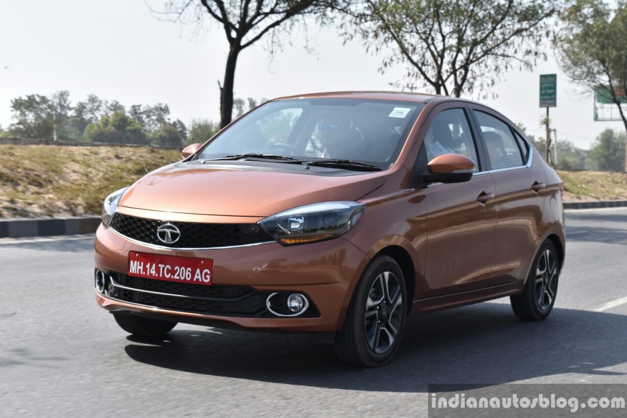 Tata Tigor petrol front three quarter dynamic First Drive Review