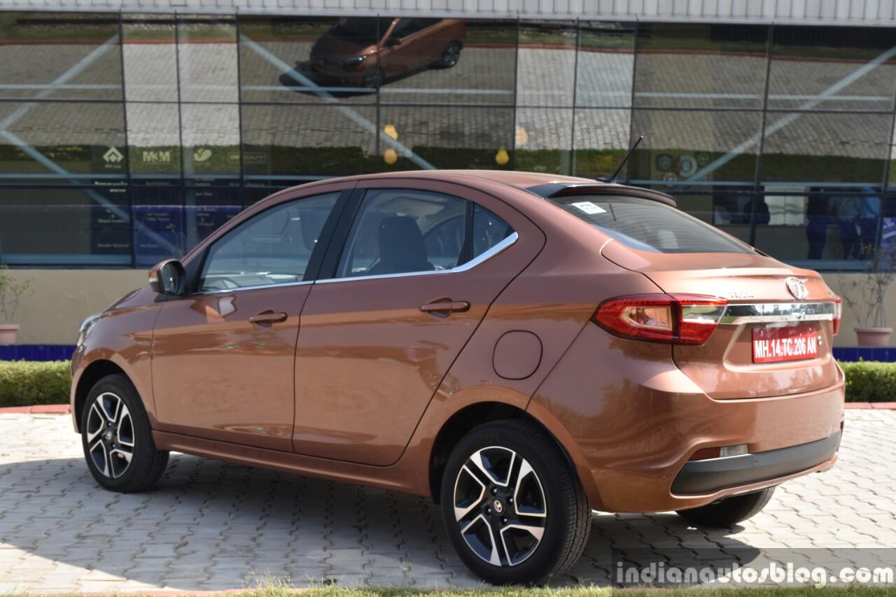 Tata Tigor petrol rear three quarter First Drive Review