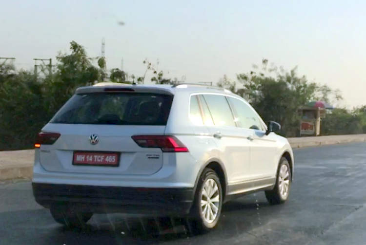 VW Tiguan spied on an Indian road rear three quarter