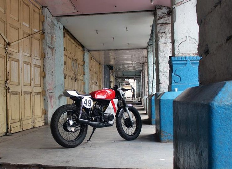 Yamaha RX100 modified as cafe racer by Ironic Engineering rear three quarter