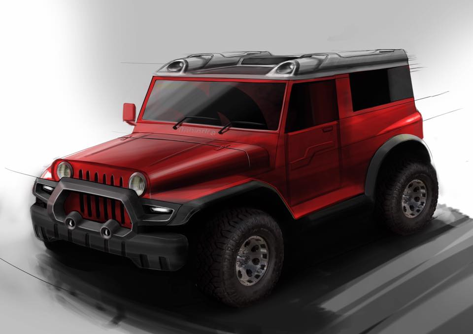 Mahindra Thar by DC Design front three quarters