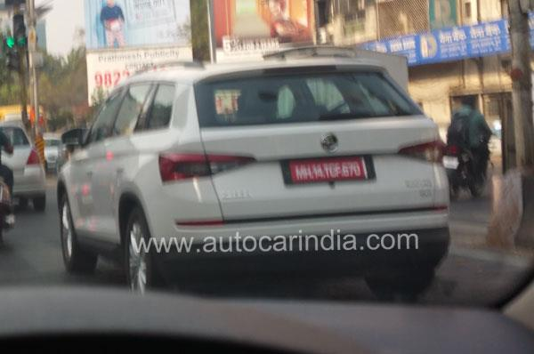Skoda Kodiaq rear three quarters spy shot India
