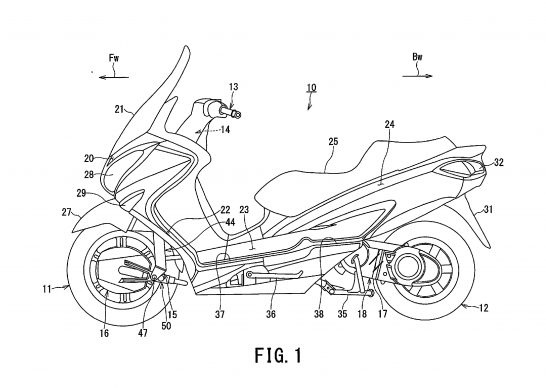 Suzuki Burgman 200 two wheel drive side patent sketch