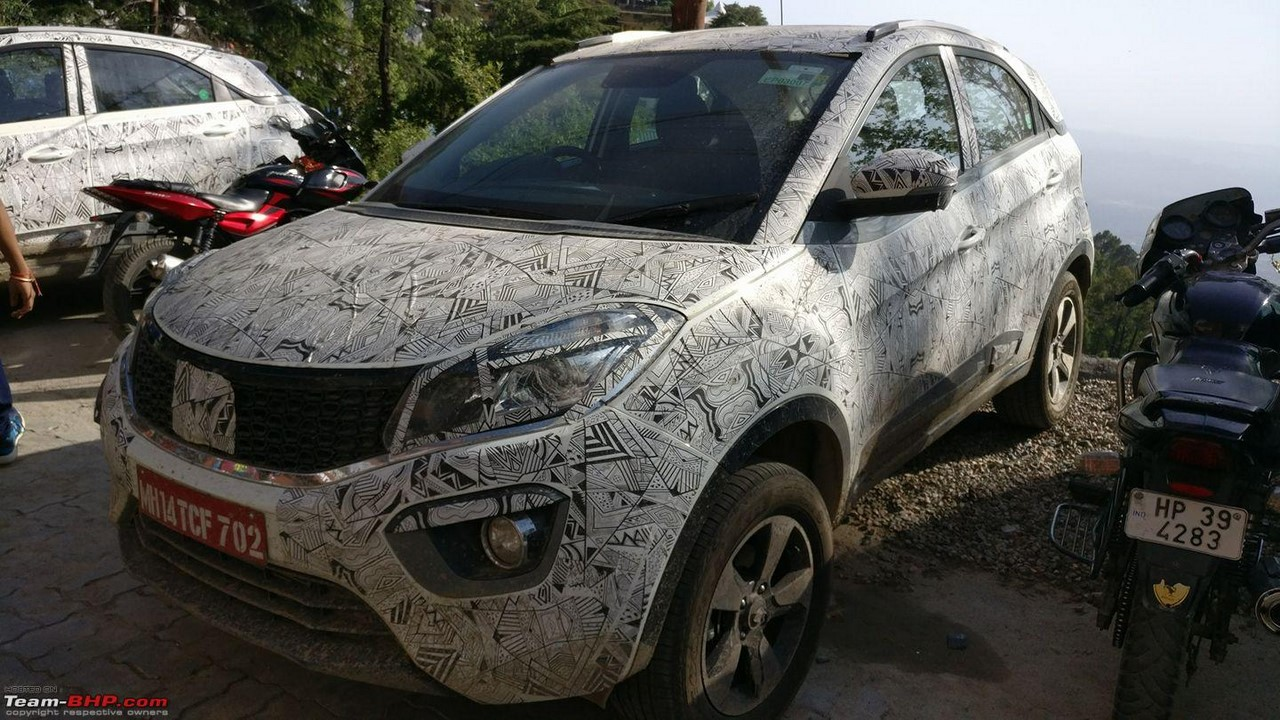 Tata Nexon front three quarters spy shot at Himachal Pradesh