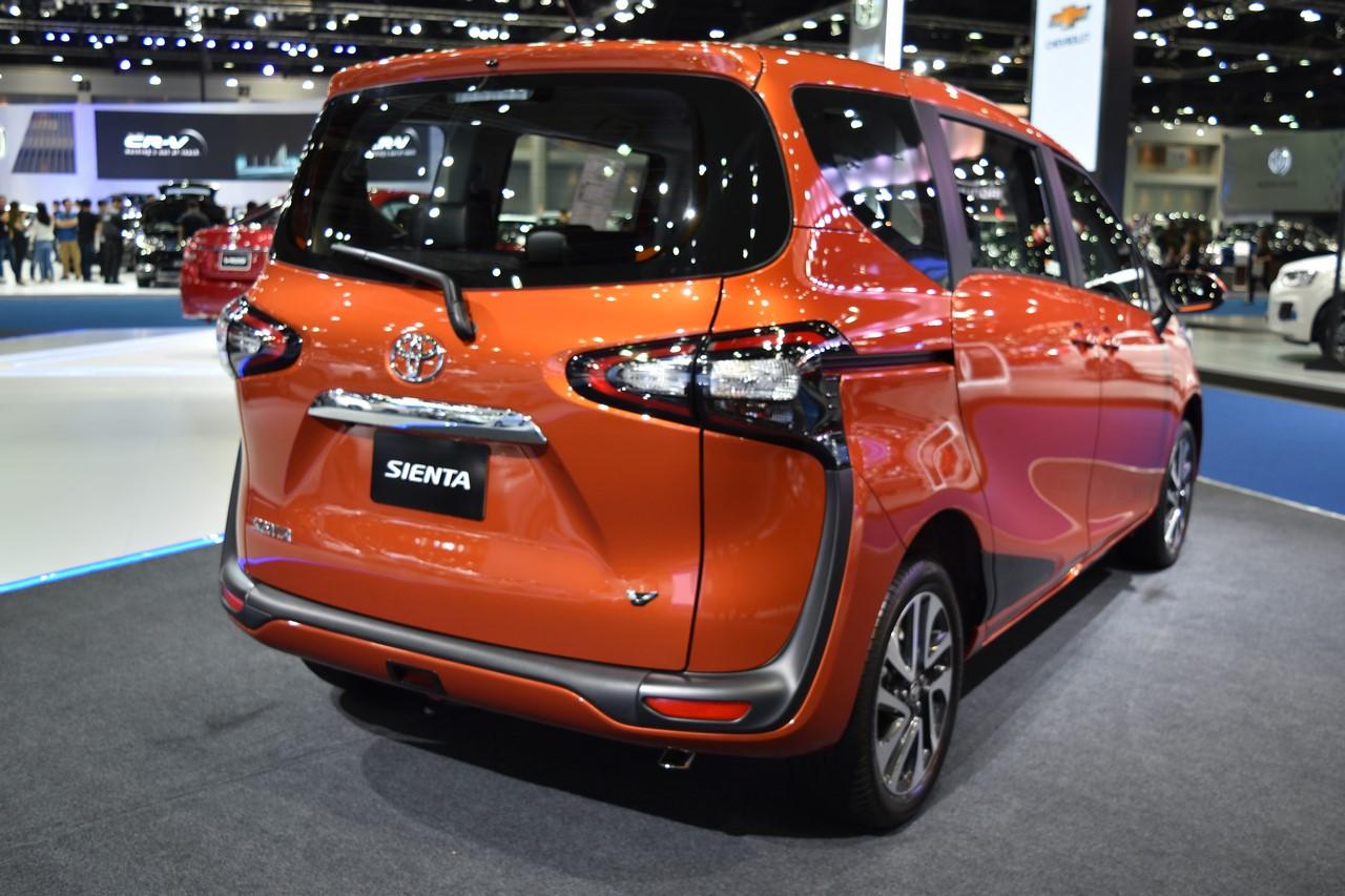 Toyota Sienta rear three quarters at 2017 Bangkok International Motor Show