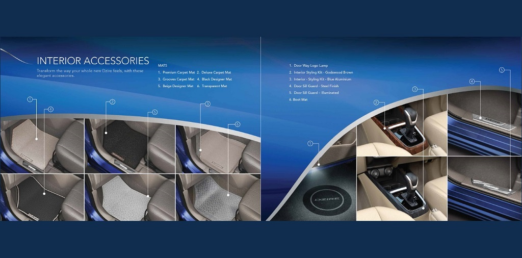 2017 Maruti Dzire interior accessories revealed