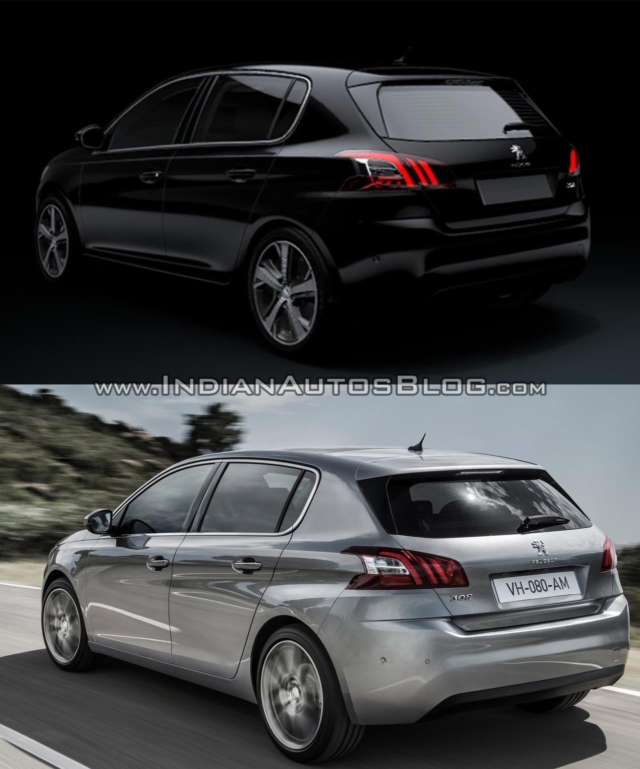 2017 Peugeot 308 vs. 2013 Peugeot 308 rear three quarters