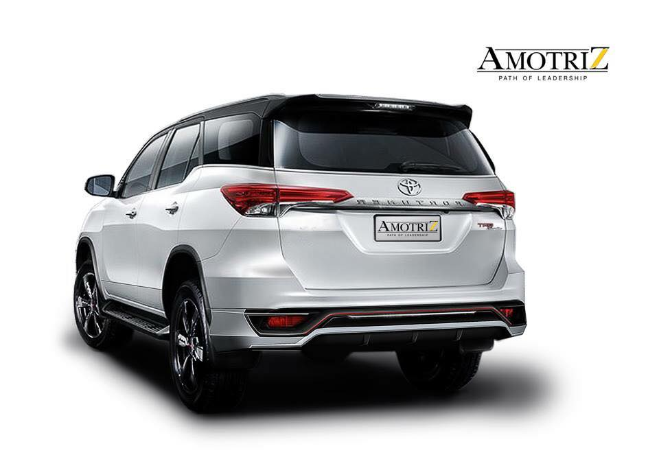 Amortriz body kit for the Toyota Fortuner TRD Sportivo rear three quarter launched Thailand
