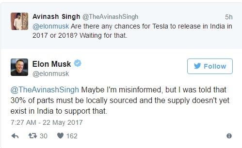 Elon Musk Tesla twitter reply
