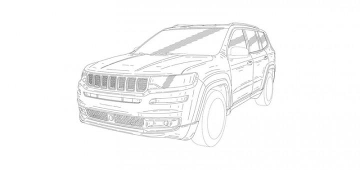 Jeep 7 seat SUV front quarter patent image