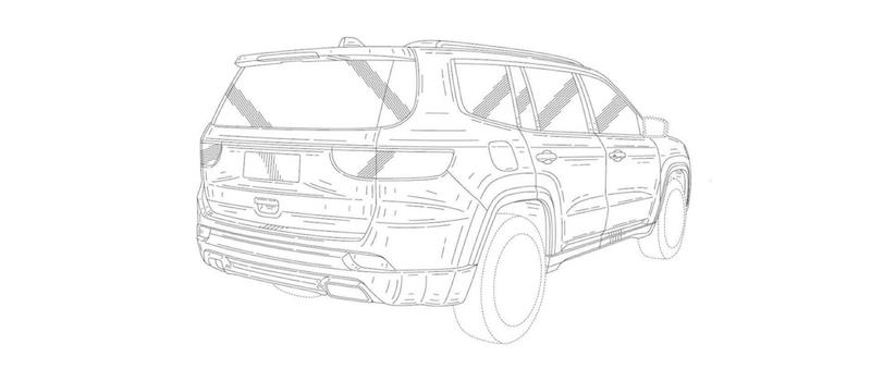 Jeep 7 seat SUV rear quarter patent image