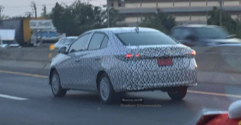 New version of the India-bound Toyota Vios rear three quarter snapped Thailand
