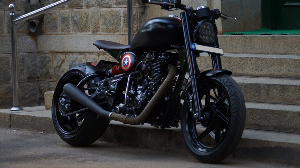 Royal Enfield Americana by Bulleteer Customs front three quarter