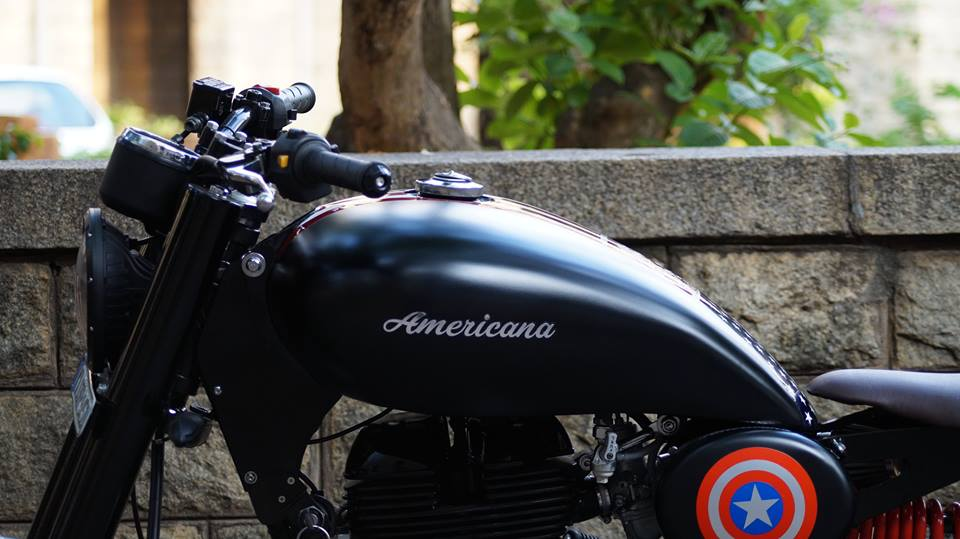Royal Enfield Americana by Bulleteer Customs shield fuel tank