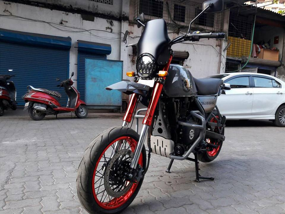 Royal Enfield Himalayan Madmax by Transfigure Custom House front three quarter left