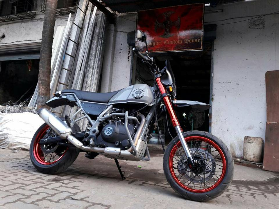 Royal Enfield Himalayan Madmax by Transfigure Custom House front three quarter right