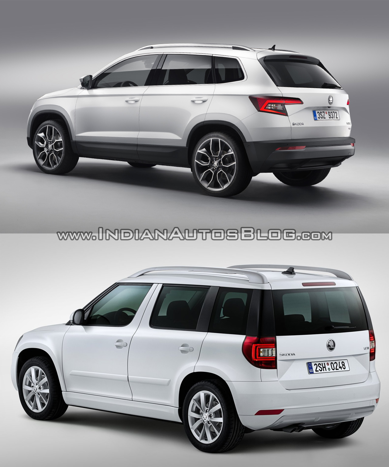 skoda karoq vs skoda yeti rear three quarters. Black Bedroom Furniture Sets. Home Design Ideas