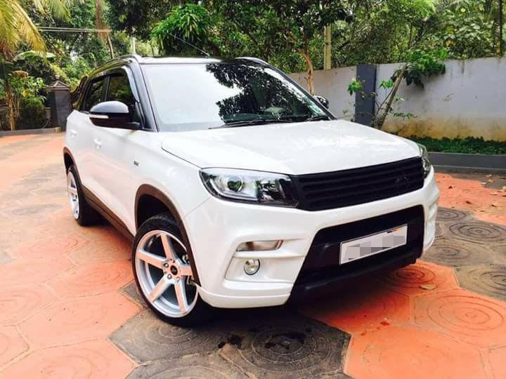 Custom Maruti Vitara Brezza with dual tone white and black exterior front quarter