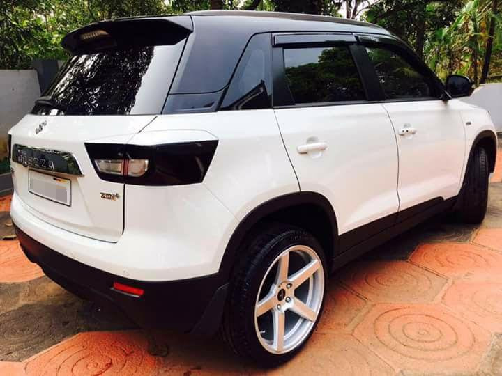 Custom Maruti Vitara Brezza with dual tone white and black exterior rear three quarter