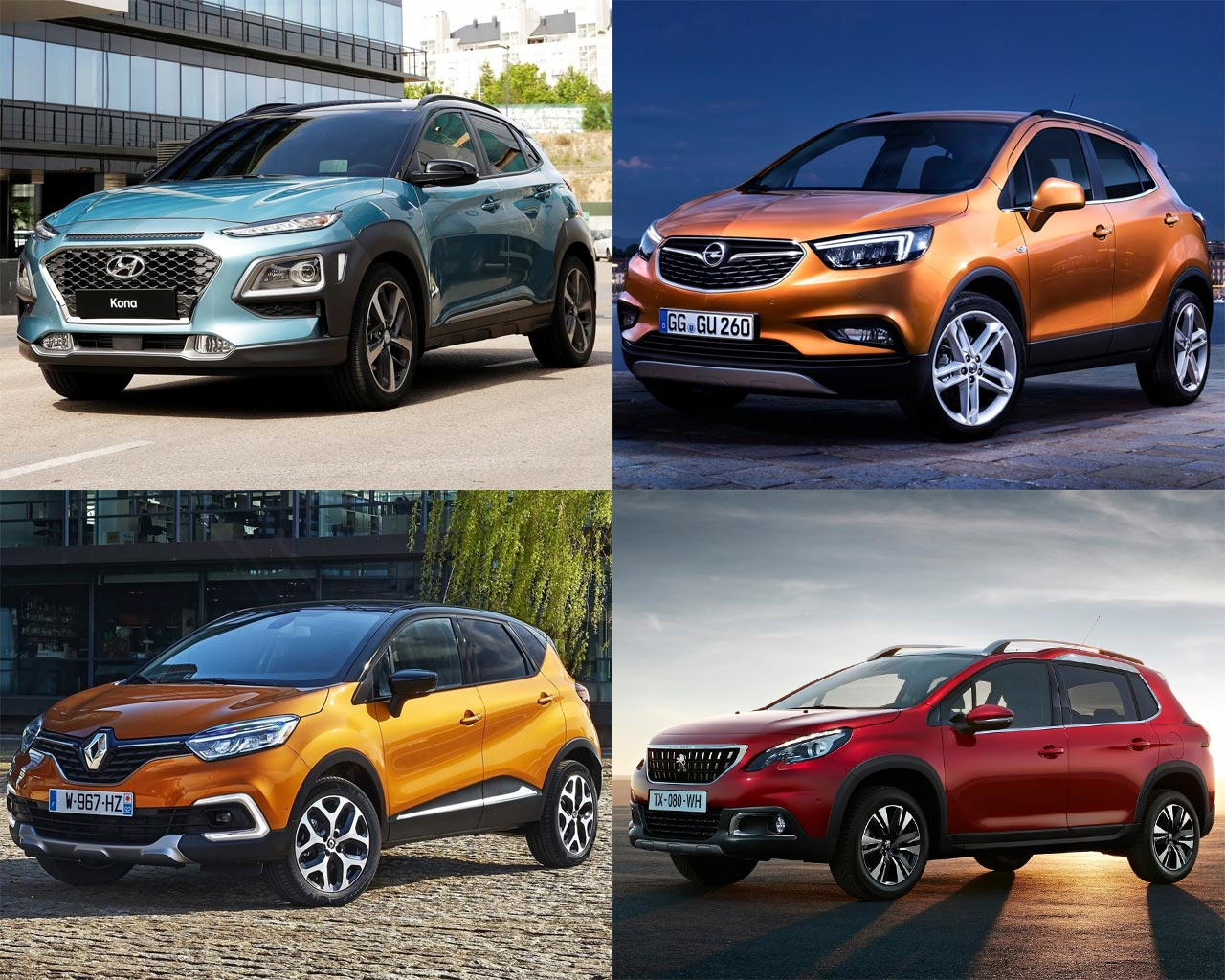 hyundai kona vs renault captur vs peugeot 3008 vs vauxhall mokka x opel moka x front three. Black Bedroom Furniture Sets. Home Design Ideas
