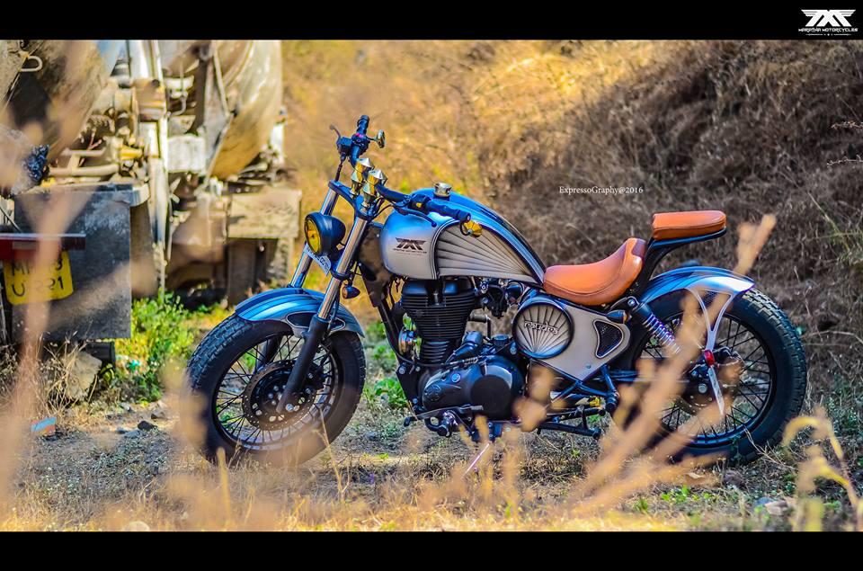 Royal Enfield Thunderbird 350 Rudra by Maratha Motorcycles side closeup