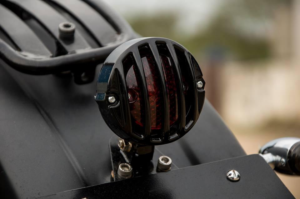 Royal Enfield Thunderbird 500 Black Magic by Eimor Customs taillamp closeup